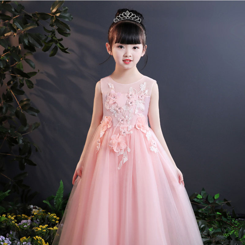 Elegant White Pink Tulle Flower Girl Summer Dress For Wedding Appliques Kids Party Prom Dress First Communion Dresses Princes