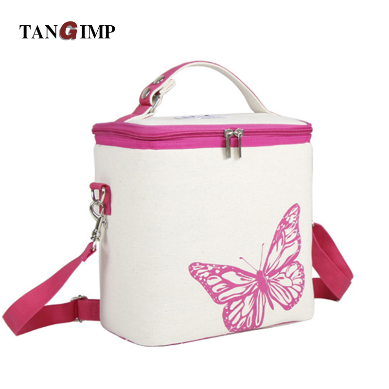 TANGIMP Portable Insulated Cotton Linen Lunch Bag Butterfly Thermal Food Picnic Handbag for Women Kids Cooler Lunch Box Bag Tote shoulder lunch bag tote women kids thermal insulated cooler storage picnic food drink bento box accessory supply products stuff