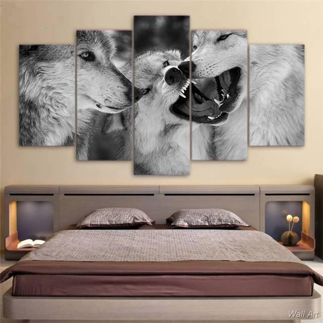 Hd Drukowane 5 Sztuka Płótno Biały Wilk Oprawione Obrazy Czarno
