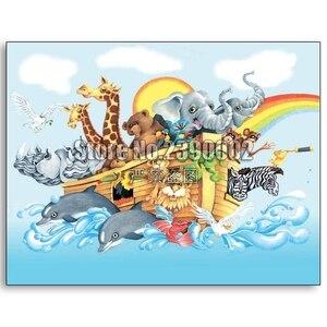 Religiosa 5D Girafa Zebra bordado Cheio de Diamantes DIY pintura Diamante Leopardo Noah & a Arca do Ponto da Cruz de Strass Mosaico