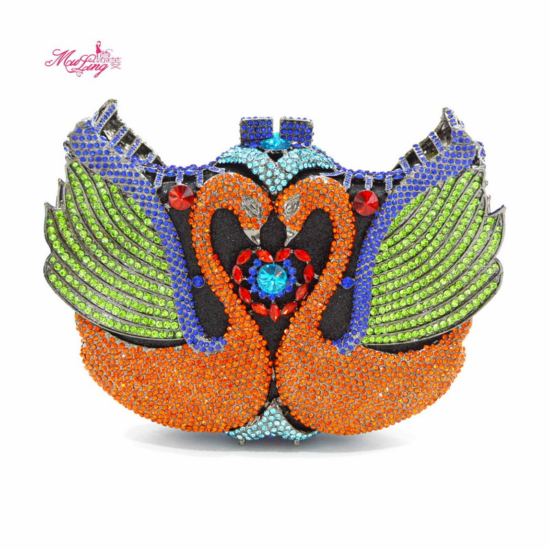 Crystal Clutch Evening Bags Women Swan Peacock Phoenix Diamond Day Clutches Rhinestones Wedding Bag Handbags Lady Purse Gift Box new single side figer diamond crystal evening bags clutch rhinestones handbag hot styling day clutches lady wedding women purse