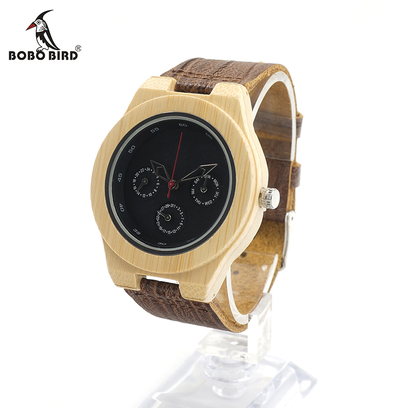 BOBO BIRD H28 Mens Wooden Bamboo Watch with Leather Band 3ATM Water Resistant Wristwatch Timepiece for