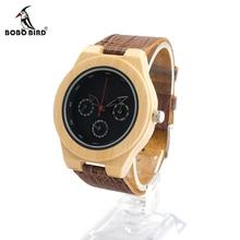 Bobo bird h28 hommes en bois bambou montre avec bande de cuir 3atm résistant à l'eau montre-bracelet de montre pour hommes femmes dans la boîte