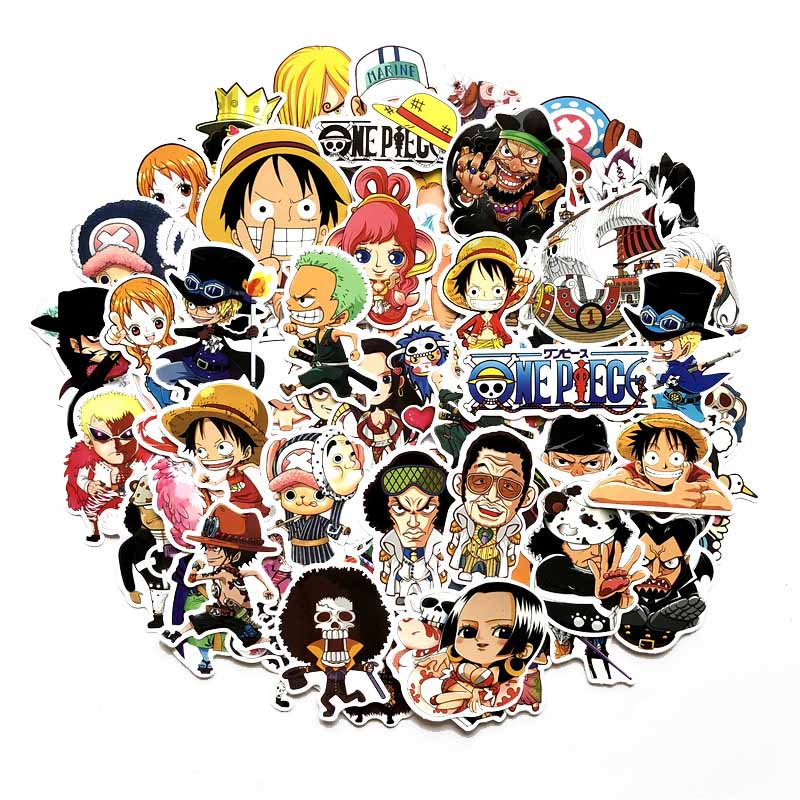 60 Pcs/Lot Anime 2018 <font><b>ONE</b></font> <font><b>PIECE</b></font> <font><b>Luffy</b></font> Stickers For Car Laptop PVC Backpack Home Decal Pad Bicycle waterproof Decal image