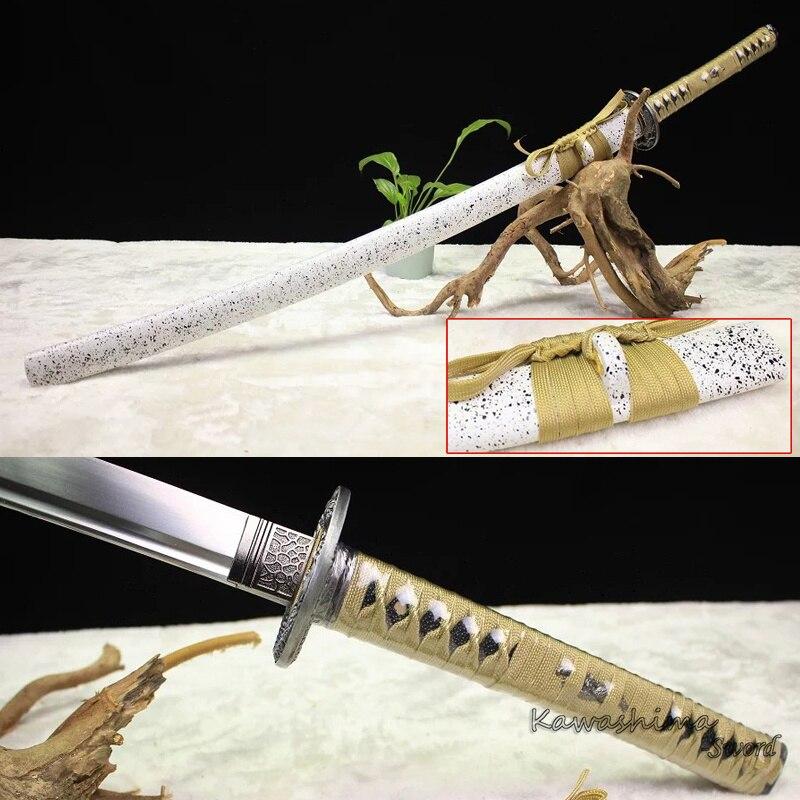 Katana japonais ponçage poli 1060 acier au carbone pleine netteté réelle épée fourreau en bois jaune cordon-41 pouces de longueur