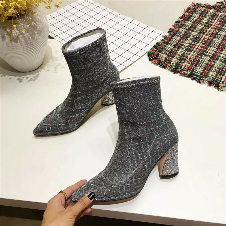цена на New arrrival Women winter pointed toe high heel ankle boots Black/silvery bling chunky heel short boots Female snow boots
