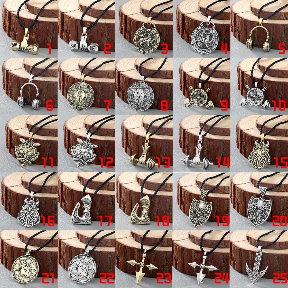 Chereda Ethnic Viking Runes Slavic Amulet Kolovrat Pendant Necklace Collier Antique Vintage Round Shape Men Necklaces