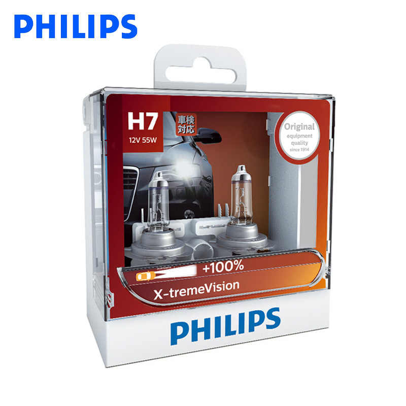 Philips Original H7 12V 55W PX26d X-treme Vision Car Headlight Bulbs Bright Halogen Lamps ECE Approve 100% More Vision, Pair