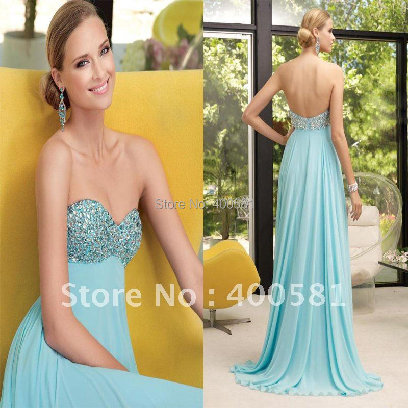 b66dcf34c98 Blingbling Sweetheart Flowy A line Court train Light Blue Chiffon Sequin  Stones Prom Dress-in Prom Dresses from Weddings   Events on Aliexpress.com  ...