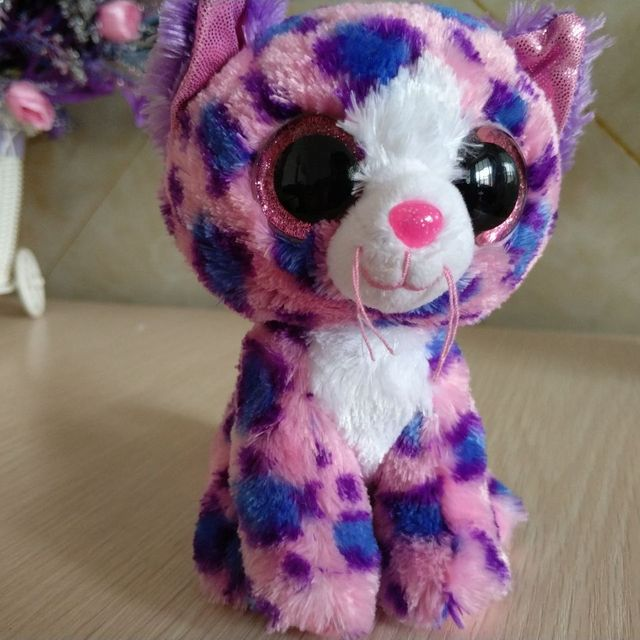 7b975dc7c33 REAGAN - pink spotted Cat TY BEANIE BOOS collection 1pc 15CM 6