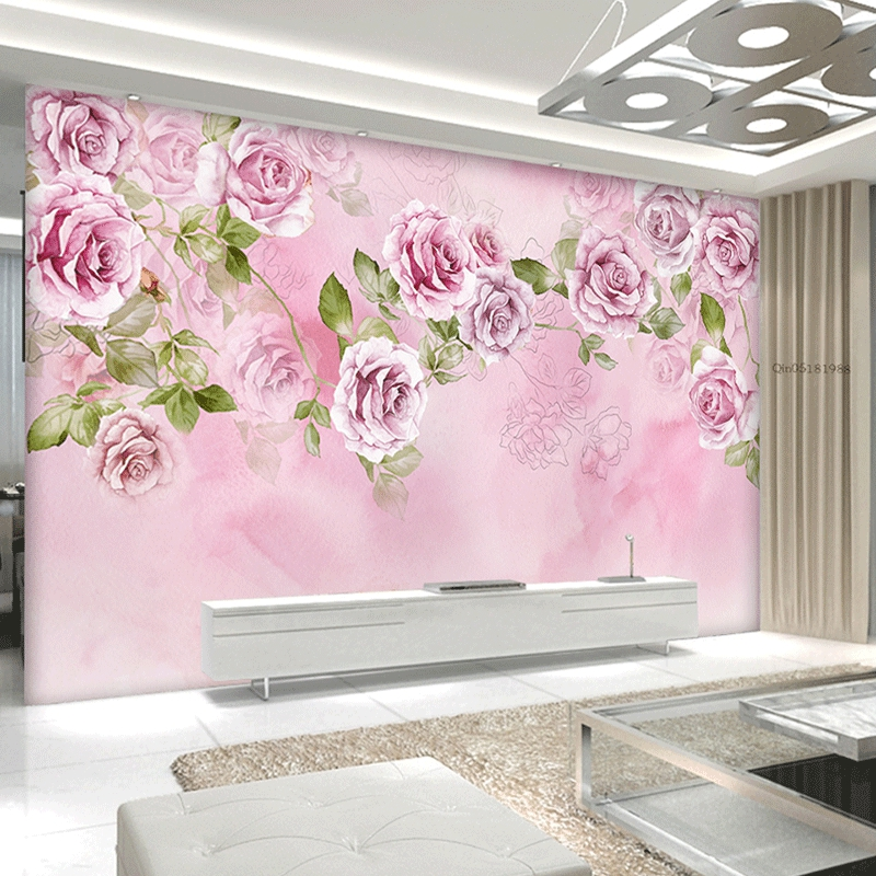 Custom Photo Wallpaper Flower 3D Stereoscopic Rose TV Background Wall Decoration Home Wall Mural Living Room Painting Wallpaper diy beads painting flower cross stitch wall decoration