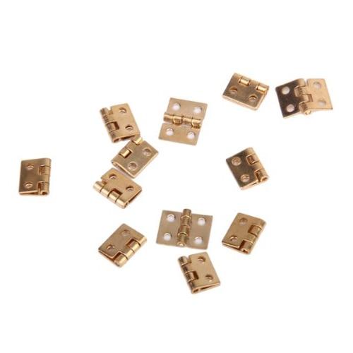 CLOS 12pcs 1/12 Dollhouse Miniature Furniture Cabinet Closet Mini Hinges - Golden 2pcs set stainless steel 90 degree self closing cabinet closet door hinges home roomfurniture hardware accessories supply