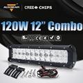 """Auxbeam 12 """"120 W Cree Chips Lente 5D Led Barra Ligera del Trabajo Combo Viga Luz campo a través para RZR ATV SUV 4WD 4X4 Barco Del Carro Del Coche faro"""