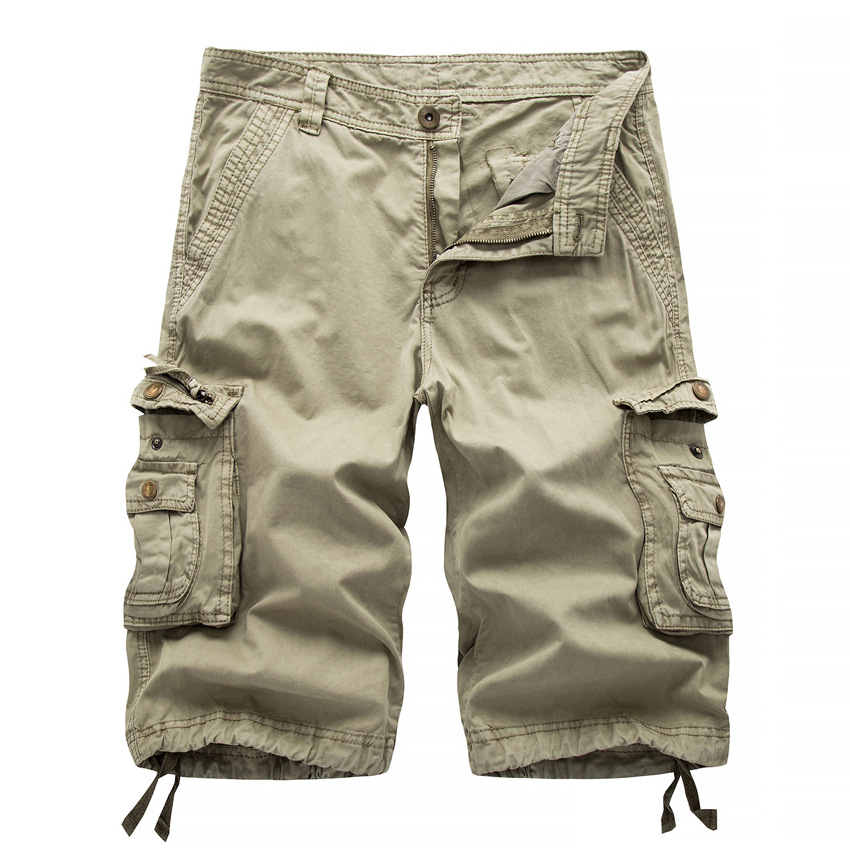 2017 Mens Cargo Shorts Summer Style Army Green Casual Trousers Overalls Male Loose Multi-Pocket Shorts Big Pockets Decoration 38