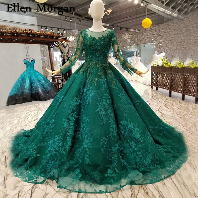 Dark Green Long Sleeves Lace Wedding Dresses With Beaded For African Black S Real Photo Elegant