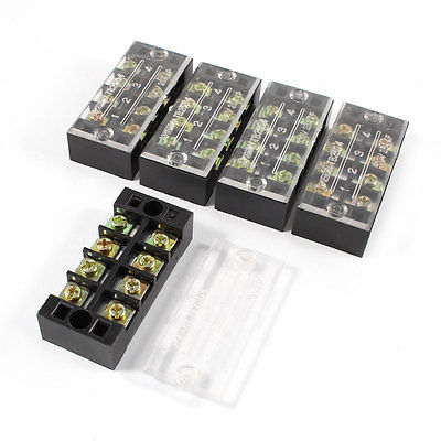 5 Pcs 600V 25A 4 Positions 4P Dual Rows Covered Barrier Screw Terminal Block 5 pcs 600v 45a 4 positions 4p dual rows covered barrier screw terminal block
