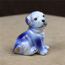 Cute Porcelain Bulldog Miniature Ceramic Pit Bull Doggy Figurine Trinket Craft Accessories for Home Decoration and Birthday Gift