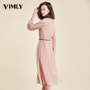 Image 3 - Vimly elegante Polka Dot vestido de mujer de manga larga chifón de oficina de mujer Dot estampado vestidos A line Vintage dulce ropa vestidos