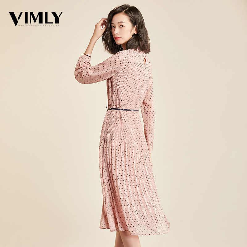 Vimly платье осень элегантный в горошек женское платье с длинным рукавом женское офисное шифоновое платье в горошек с принтом ТРАПЕЦИЕВИДНОЕ винтажное милое платье