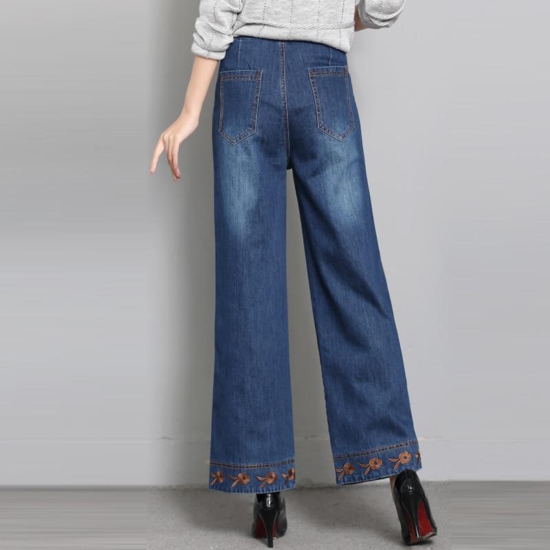 Mujeres Sy50806 Bordado Pierna Alta 98 Capris Nueva Para Otoño Casual Las Cintura Algodón Primavera Jeans Denim Suelta De Moda Pantalones Ancha RYwX5X