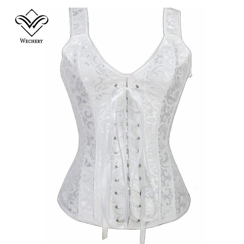 Wechery Brocade   Corset   Strap Overbust Waist   Corsets   Beige/White Steampunk Gothic Halter Lace up   Bustier     Corset