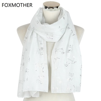 FOXMOTHER New White Pink  Animal Print Scarves Foil Sliver Dog Scarf Wraps Gifts Women Dog Lover foxmother new vintage pink white cat foulard femme animal cat scarves for cat lover mother gifts scarfs dropshipping