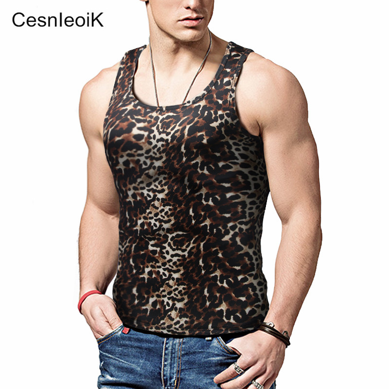 Men's Tank Tops Fashion Brand Sleeveless Undershirts For Male Bodybuilding Tank Tops Casual Summer Leopard Vest Y29