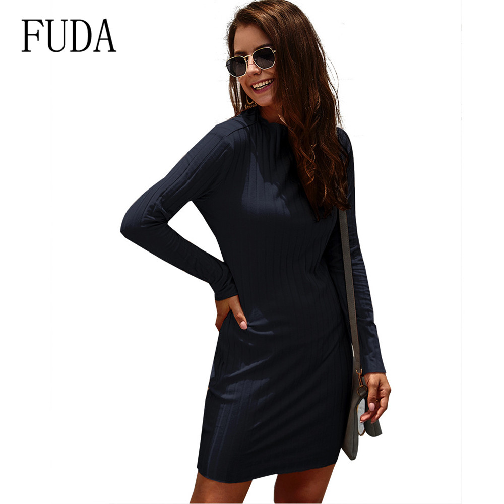 FUDA New High Quality Autumn Long Sleeve O Neck Elegant Knitted Dress Women Slim Holiday Dresses Vestidos De Fiesta De Noche in Dresses from Women 39 s Clothing
