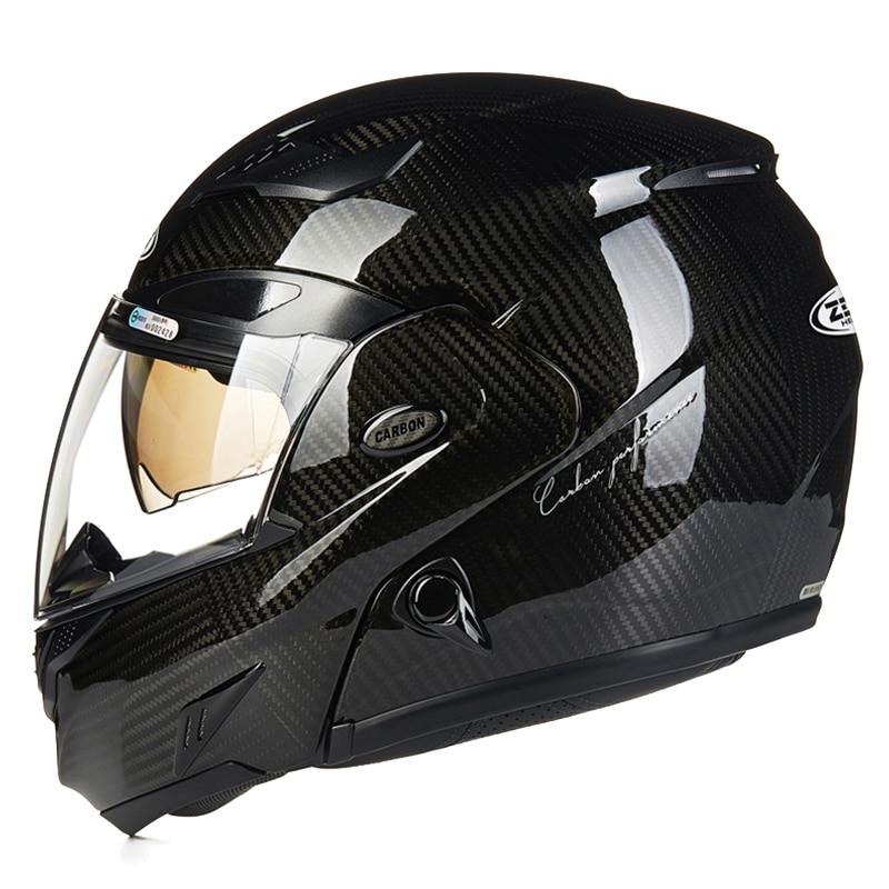 цена Genuine Carbon Fiber Flip Up Motorcycle Helmet Full Face racing Motorbike Helmets with Air pump dual lens visor moto helmet