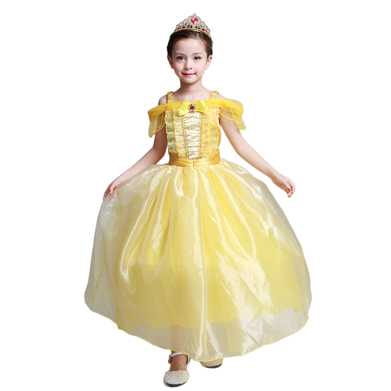 Kids Girl Beauty and Beast Cosplay Costume Belle Children Princess Dress for Christmas Halloween