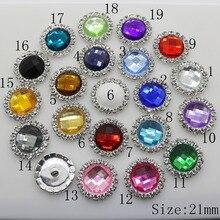Новые кнопки для одежды для рукоделия 21 мм круглая кнопка со стразами украшение для свадебных приглашений DIY аксессуары для шитья