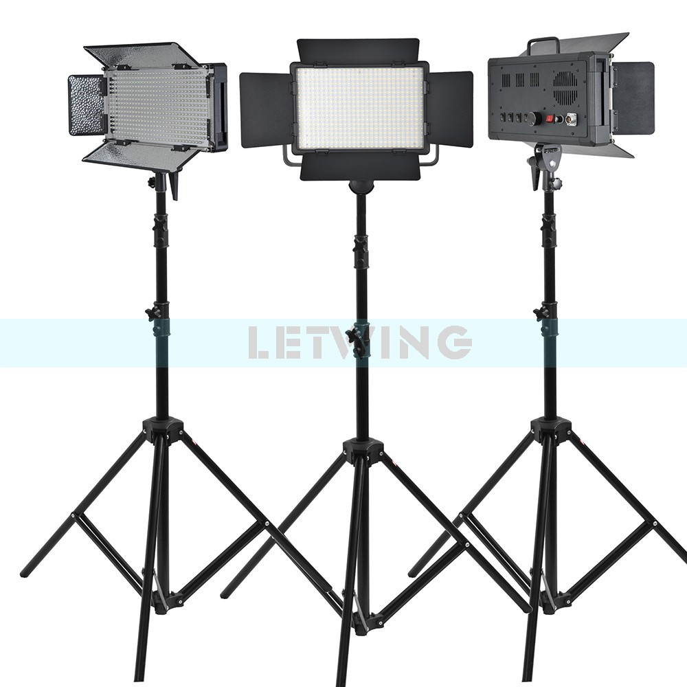 Yellow Version Godox 1500W 3X LED 500W Photo Studio Video Continuous Light Kit For Camera Camcorder DV Wedding 3300K godox 1000 led studio video continuous light lamp for camera camcorder dv 3300k