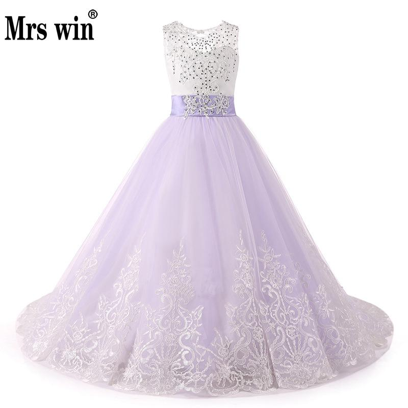 Mrs Win 2018 Lace Puffy Lace   Flower     Girl     Dress   for weddings Tulle Ball Gown   Girl   Party Communion   Dress   Pageant Gown
