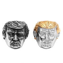 Wholesale USA President Trump Ring Stainless Steel Jewelry Newest Silver Gold American President Cool Biker Mens Ring 869B(China)