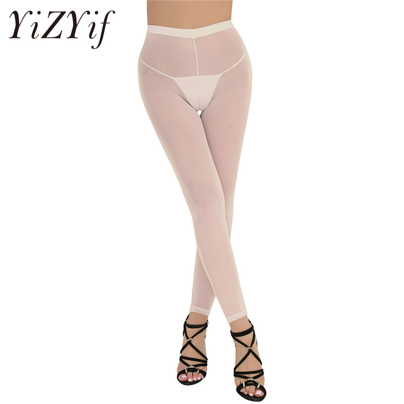 2018 Sexy Women Soft Slim Cut Breathable Lingerie See-through Sheer Mesh Thin Leggings Pants Trousers Women's Lingerie Leggings