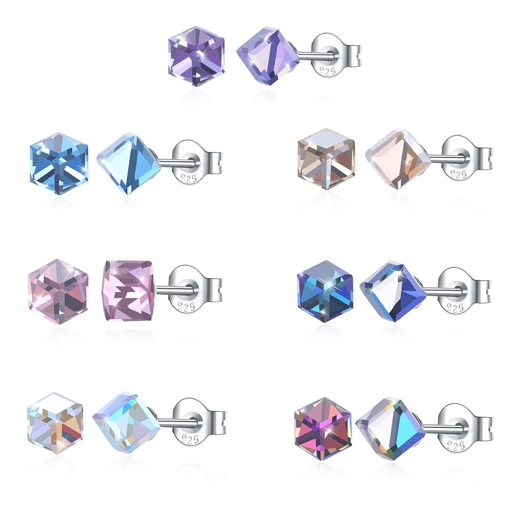 2d89481c14f40 US $8.02 44% OFF|2018 New 100% 925 Sterling Silver Shiny Austrian Crystal  Stud Earrings for Women Simple Cube Square Ear Studs Fashion Jewelry-in  Stud ...