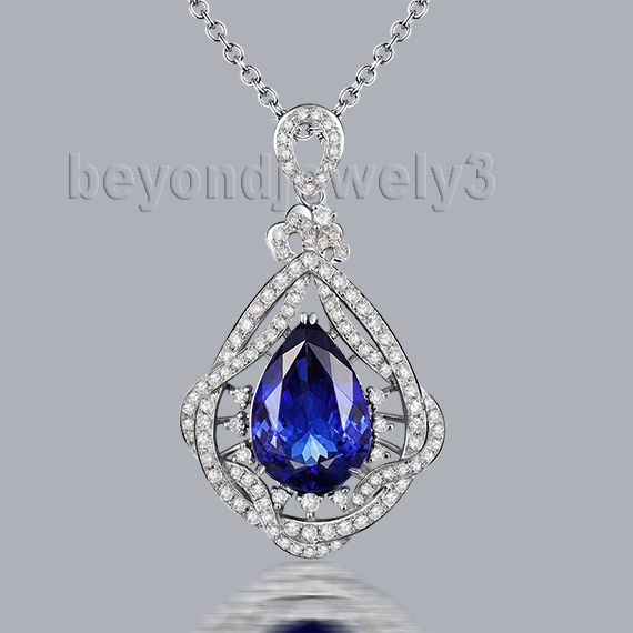 Luxury natural gemstone pendant 14k white gold pear cut 9x13mm luxury natural gemstone pendant 14k white gold pear cut 9x13mm tanzanite pendant for engagement party wp064 aloadofball Image collections