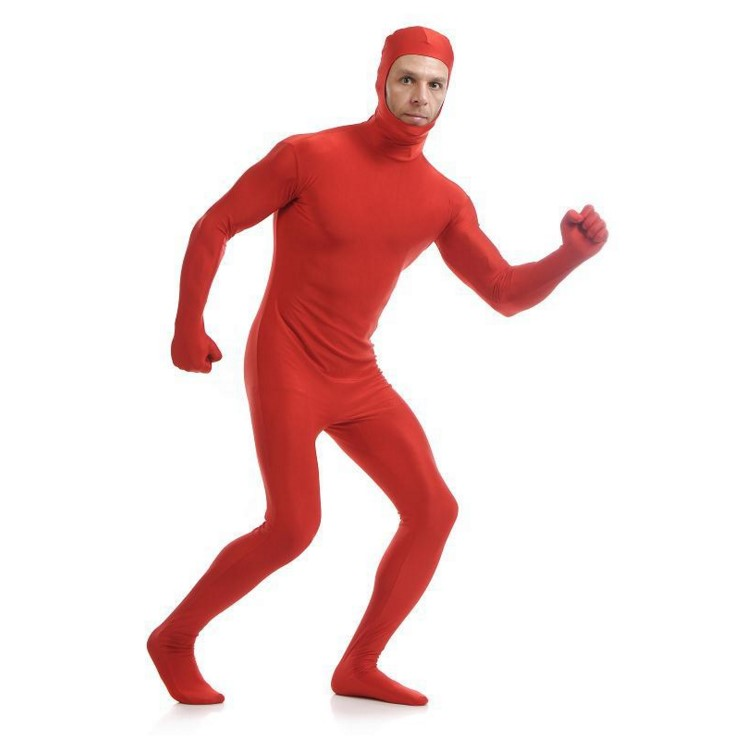 (SOF012) Red Lycra Spandex Full Body Fetish Zentai Skin Tights Unisex Bodysuit Cosplay Costume Unitard Jumpsuit Dancewear