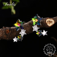 INALIS 925 Sterling Silver Multicolor Star Stud Earrings For Women Fine Jewelry Push Back Design Engagement
