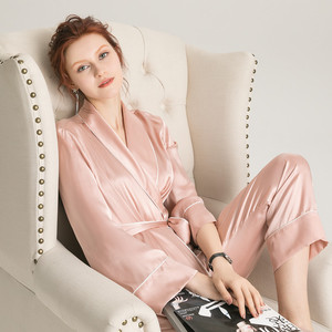 Image 2 - Suyadream feminino conjuntos de pijama de seda 100% real seda cetim roupões e calças 2020 nova primavera pijamas rosa