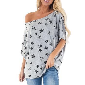 Ropa para mujer de JAYCOSIN, 2019, camiseta de manga corta con hombros descubiertos, estampado de estrellas, camiseta de playa de arena fácil, Tops