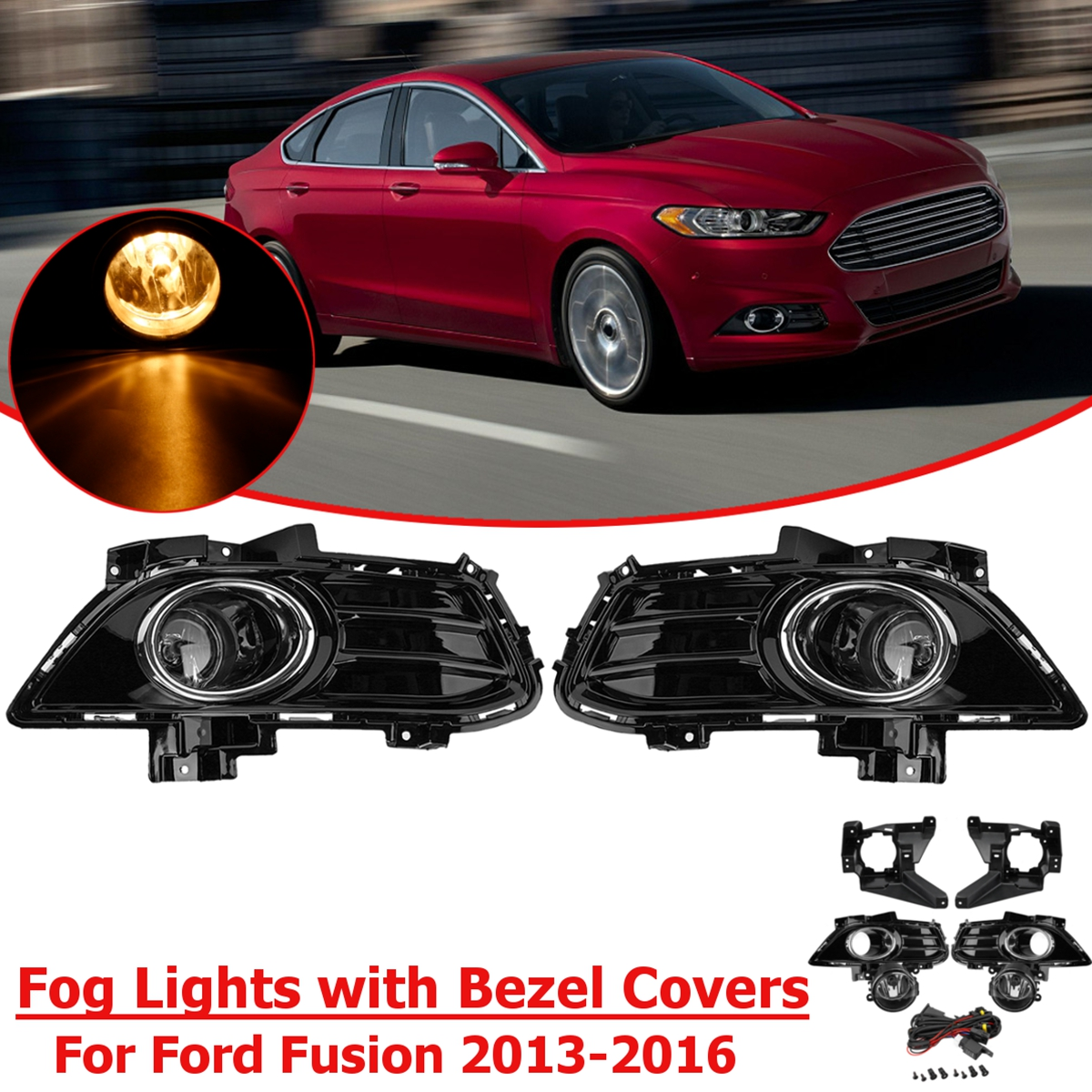 Front Fog Lights Fog lamp Kit with Bezel Covers and Wiring Complete Set For Ford for Fusion for Mondeo 2013 2014 2015 2016 free shipping fog light set fog lights lamp for toyota vios 2013 on clear lens pair set wiring kit