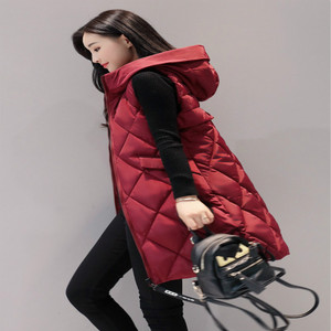 Image 4 - Womens Vests Winter Slim Hooded Women Vest Plus Size Coats Women 4XL Sleeveless Jackets And Coats Long Vest And Waistcoats Parka