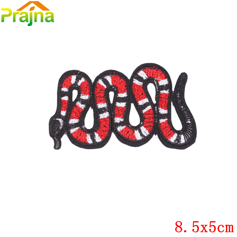 Punk Rock Red Snake Patch Sew On Cartoon Badge Cheap Biker Embroidered Patches For Clothes Kids Hippie Applique Stickers