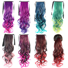 "2019Fashion 17"" Long Curly Clip In Hair Ponytail Length Ribbon Hair Extensions Ombre Rainbow Pony Tail Synthetic Fake Hair Piece(China)"