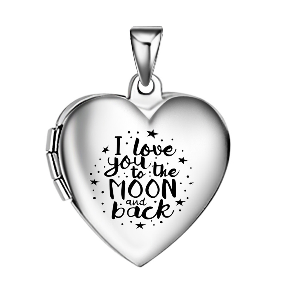 I Love you to the moon and back girls photo locket pendant,stainless steel heart pictures locket necklace Includes 20