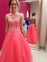 Sexy Beaded Prom Dress Long 2017 Cap Sleeve Illusion A-Line Tulle Sexy Birthday Dresses Vestidos Para Festas Evening Gowns
