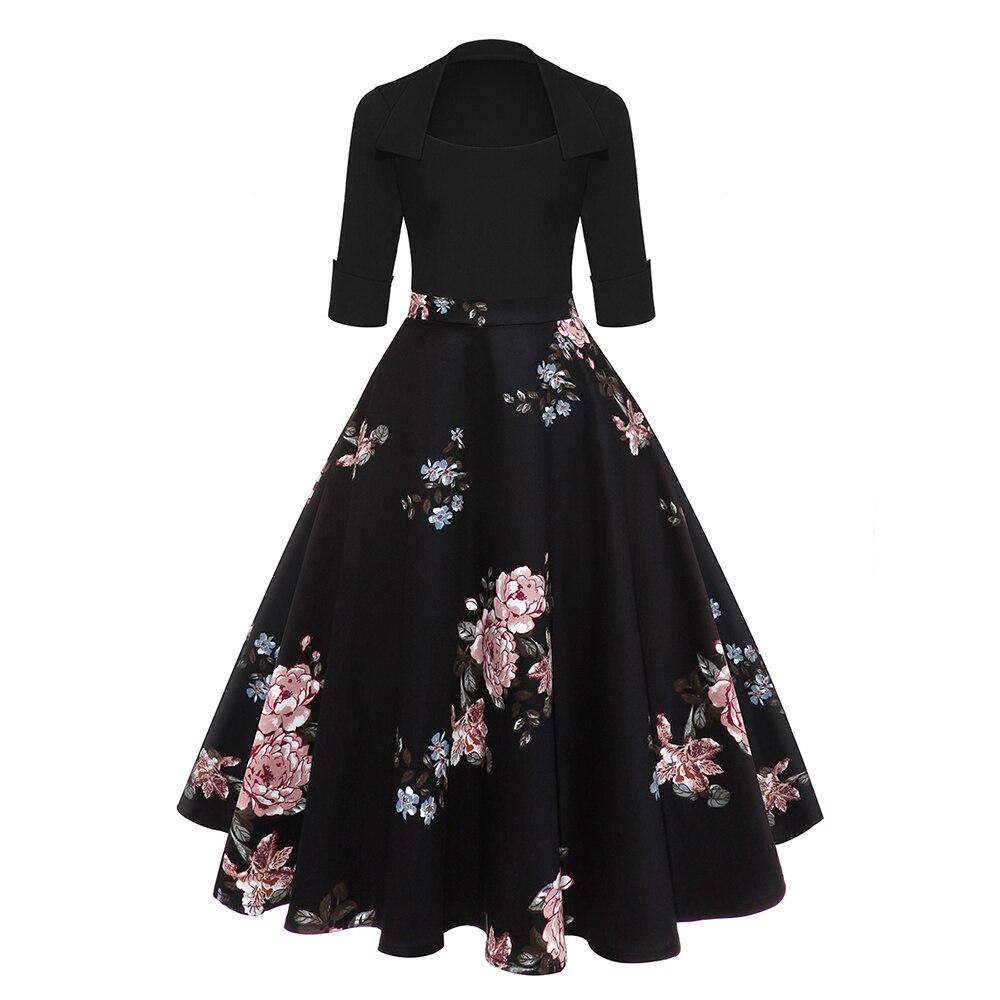 Vintage Robe de soirée femmes Floral Flare robes Midi hiver automne coton rétro Audrey Hepburn Robe élégante Robe Femme Vestidos