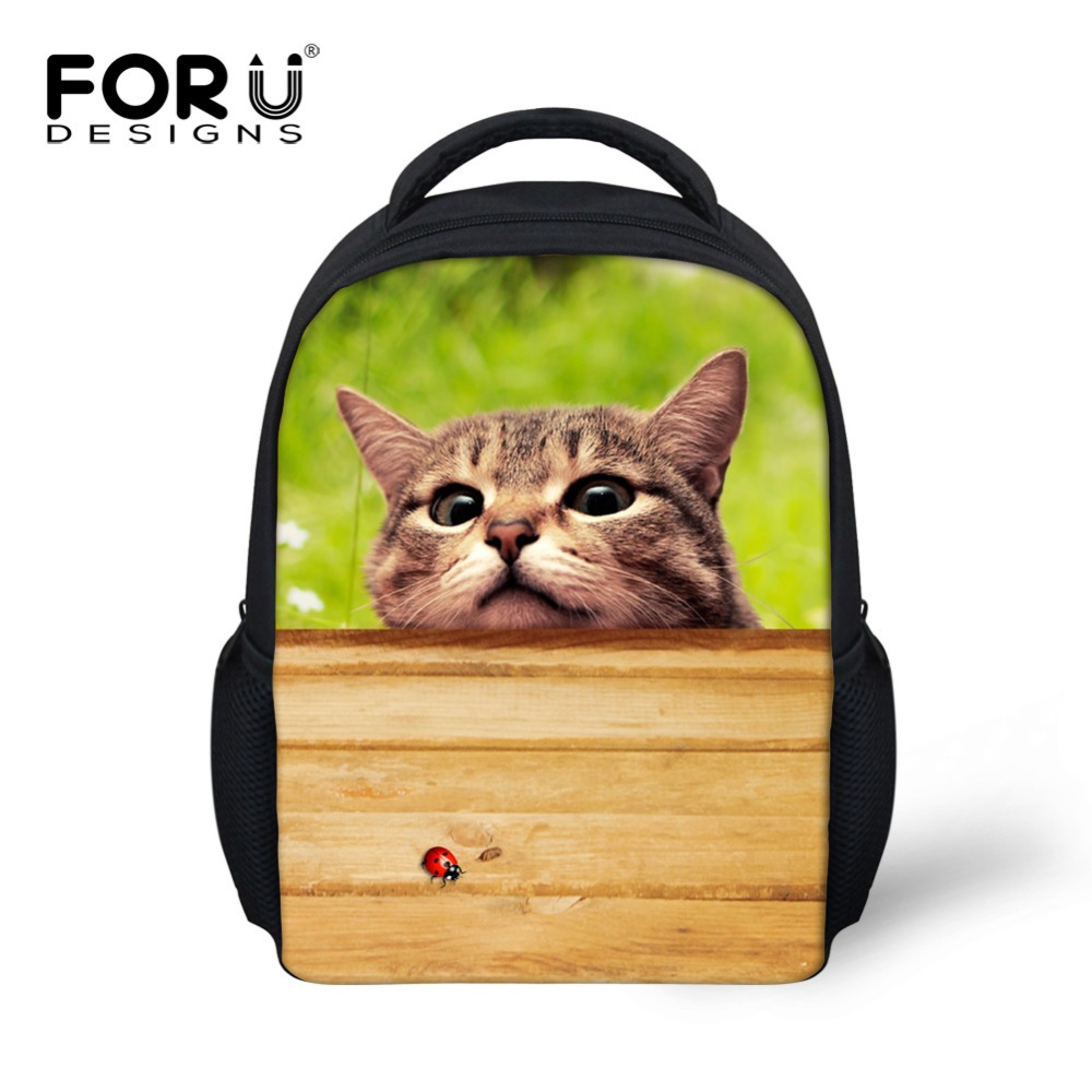 Small 12 inch Children Backpacks 3D Animal Cute Cat Dog Print Printing Kids Bagpack Girls Kindergarten Bagpack Mochila Infantil купить