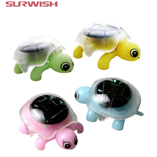 Surwish Mini Solar Powered Energy Cute Turtle Tortoise Gadget Gift Educational Toy For Kids - Color Random